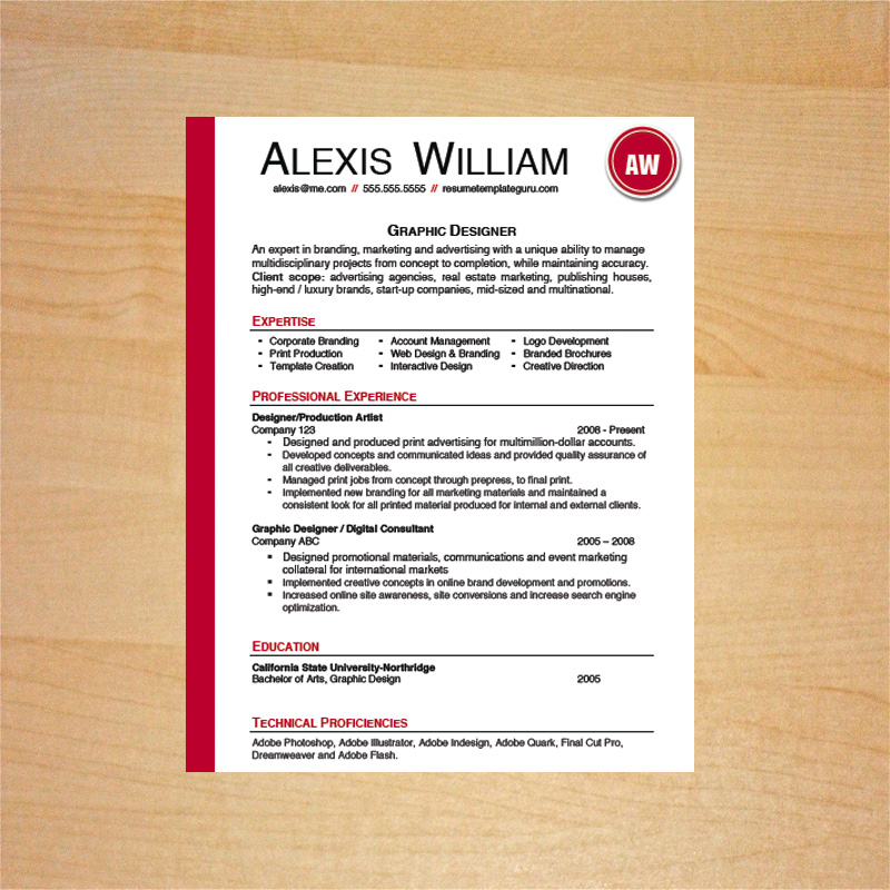 graphic designer resume and cover letter template - Graphic Designer Resume Format