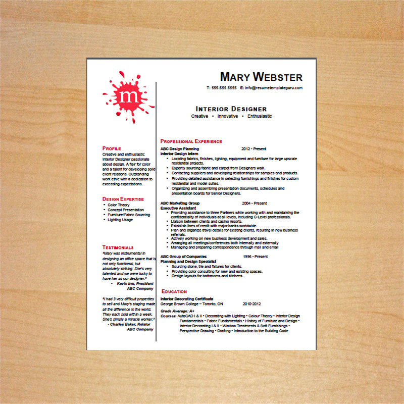 resume for interior designer